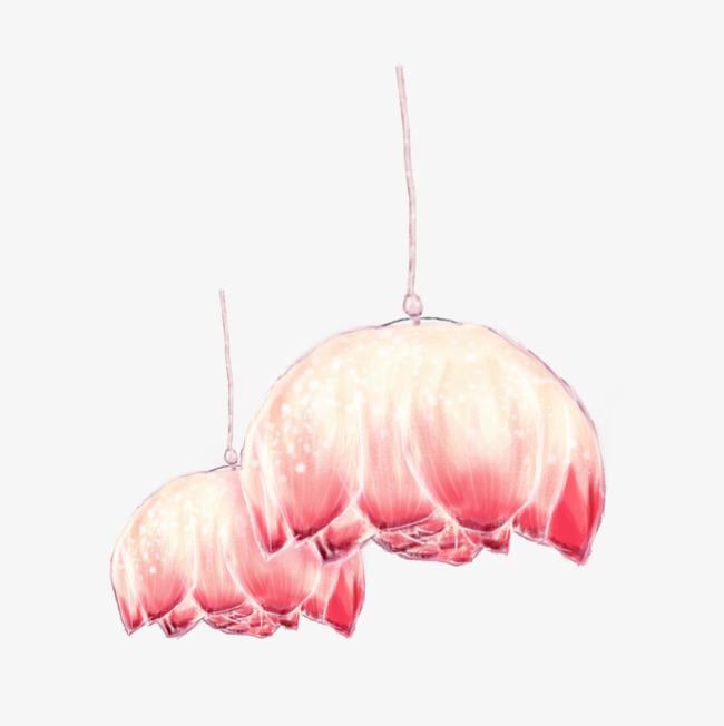 手绘荷花吊灯png素材-90设计