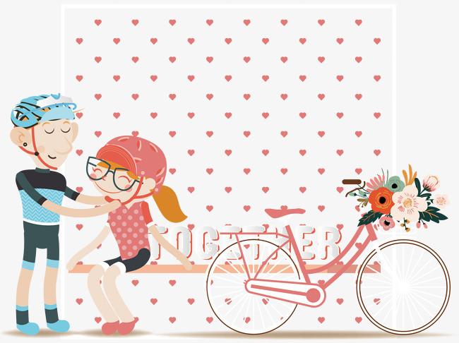骑自行车的情侣矢量图