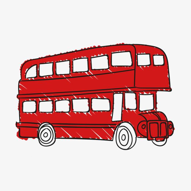 手绘巴士车素材