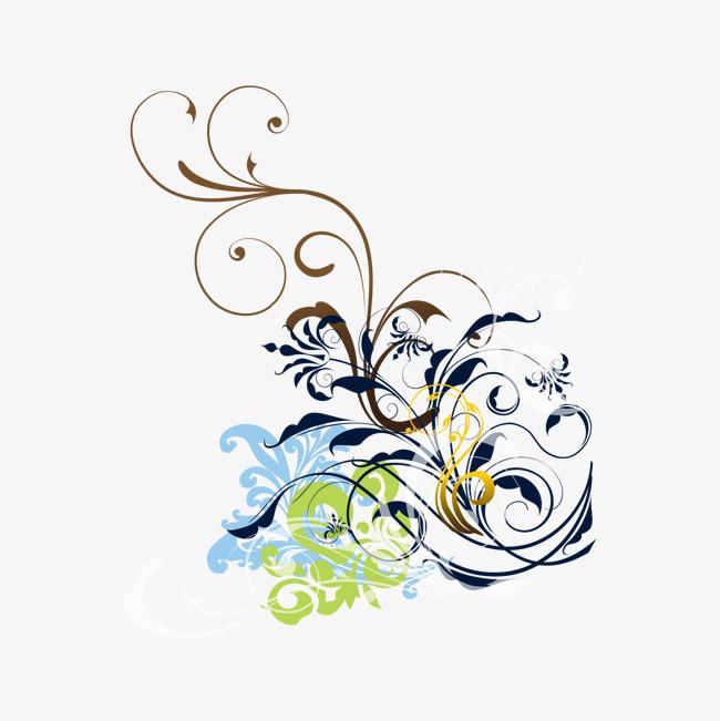 手绘彩色花朵花藤图案