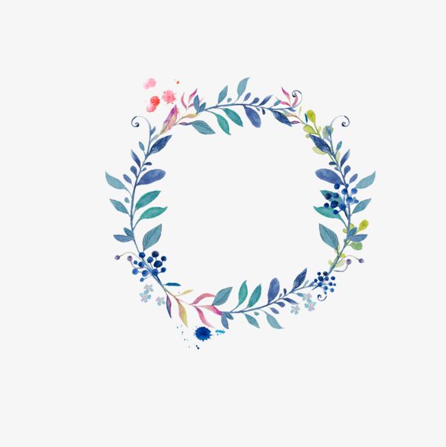 手绘清新花环圆形花框