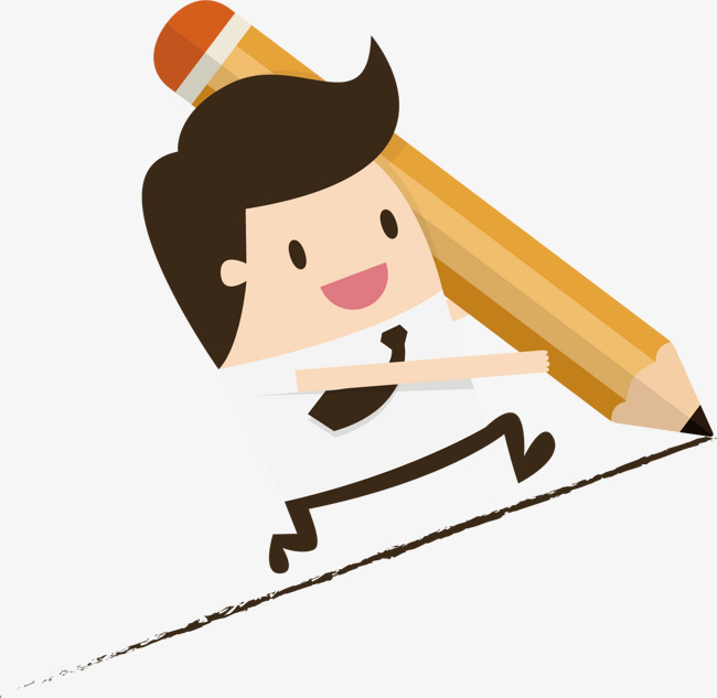 矢量手绘拿着铅笔跑的小人