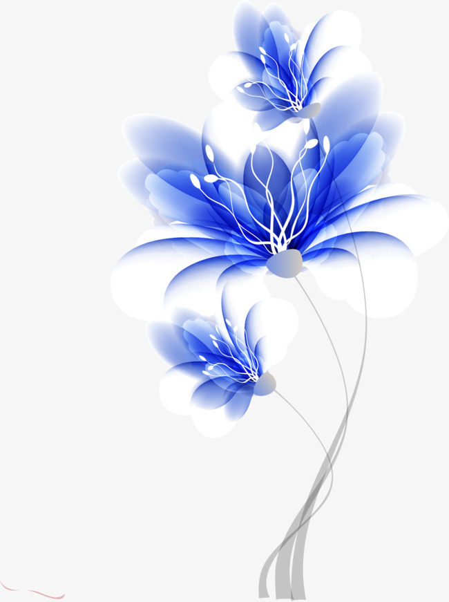 蓝色梦幻手绘花朵图案【高清装饰元素png素材】-90设计