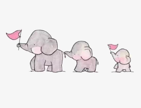 图片 > 【png】 可爱童趣大象一家人手绘  分类:手绘动漫 类目:其他