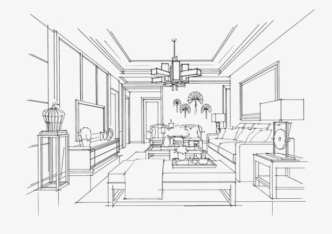 室内设计手绘线稿素材图片免费下载 高清png 千库网 图片编号8119494