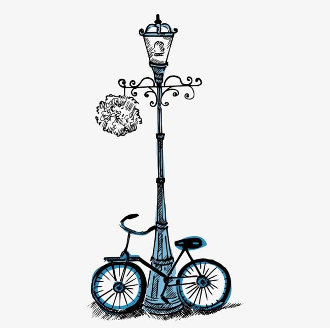 手绘卡通路灯自行车