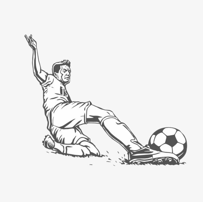 手绘踢足球的人