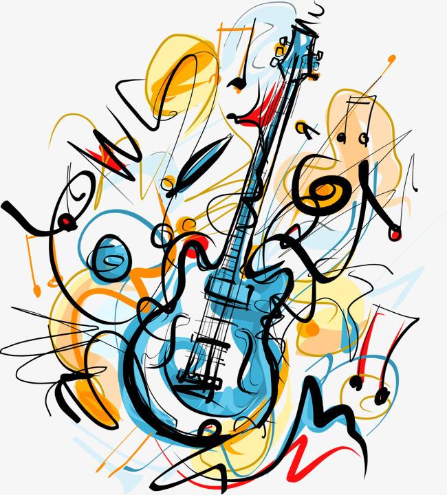 音乐 吉他 乐器 手绘 彩绘 线条 矢量图 装饰图案