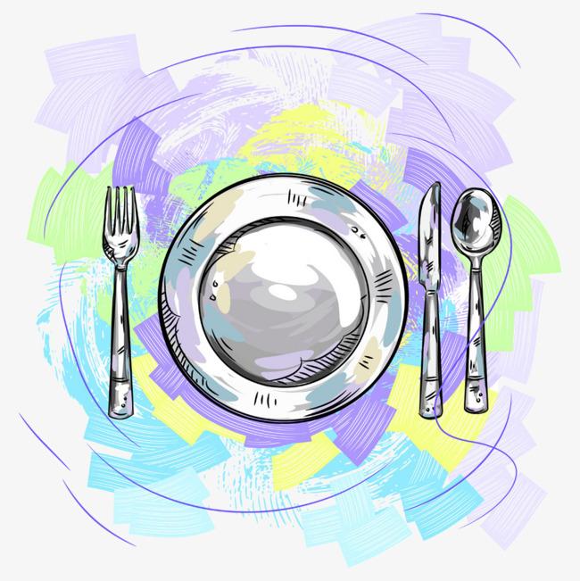 手绘水彩餐盘