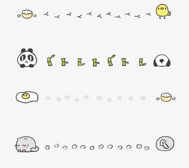 矢量卡通分割线   卡通   分割线   熊猫   简单   猫咪   矢量卡通分割线