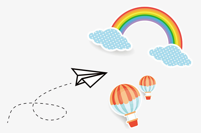 手绘彩虹热气球纸飞机png素材-90设计