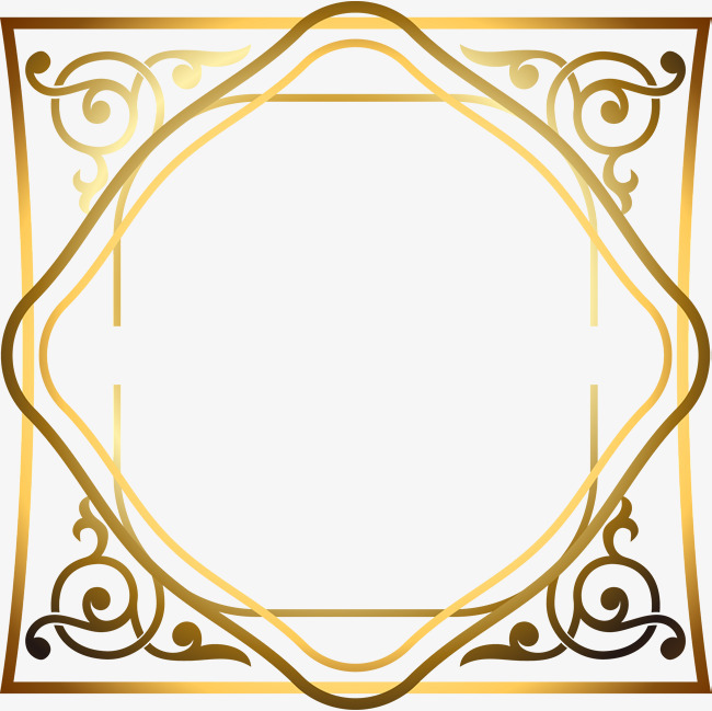 矢量_黑金花纹边框素材-90设计