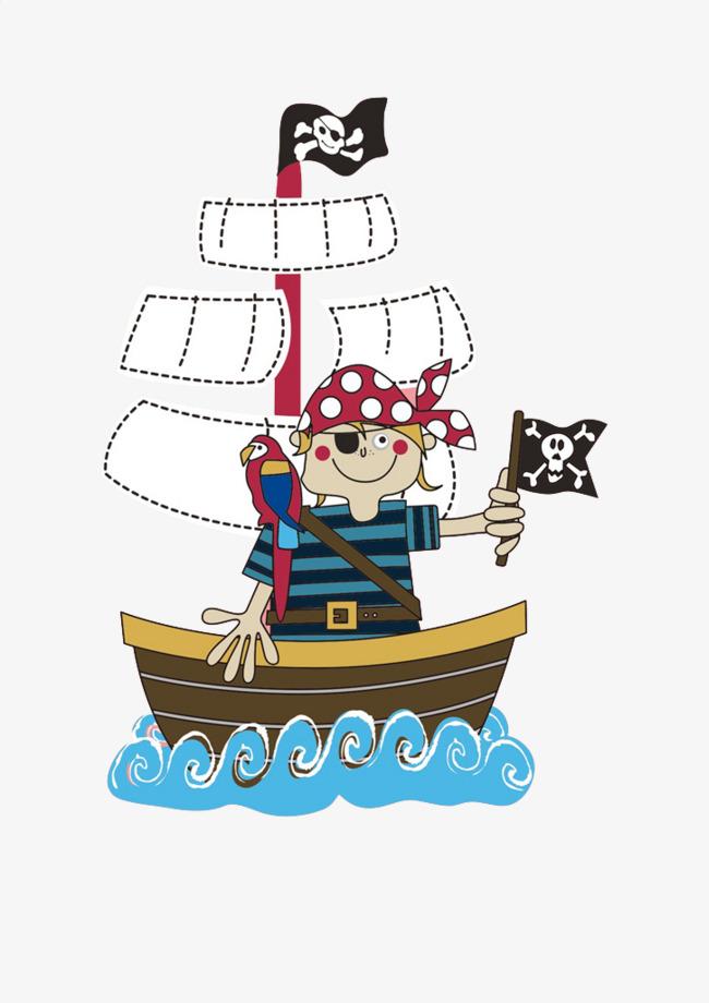 手绘海盗船