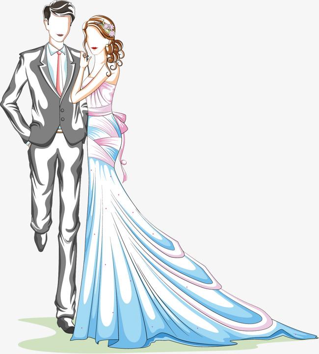 画矢量结婚彩色绘画人物浪漫卡通婚纱婚礼-卡通手绘新人情侣插画