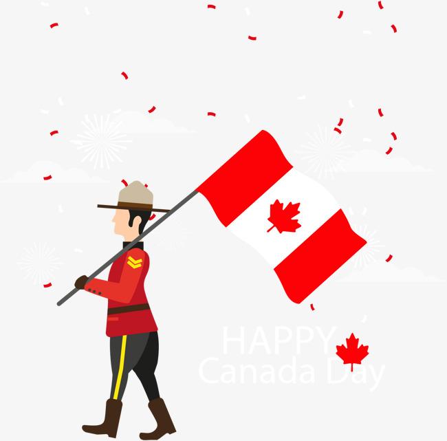 矢量手绘扛着加拿大国旗的士兵