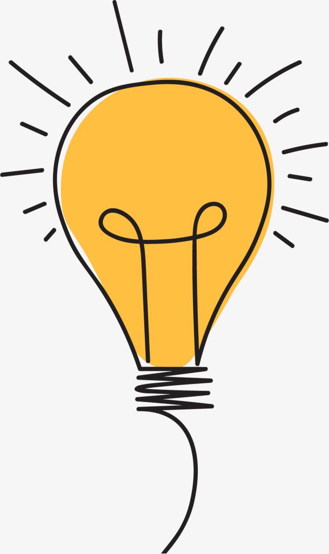 卡通矢量黄色发光灯泡图片