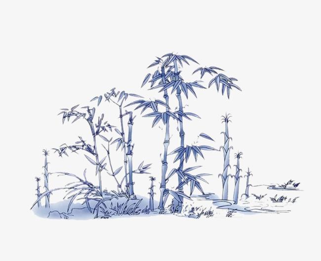 蓝色的竹林png素材-90设计