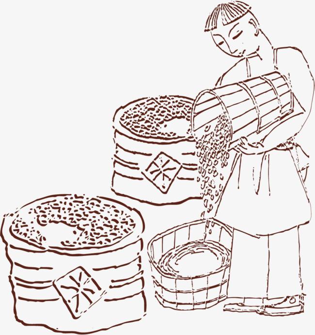 手绘线条丰收大米