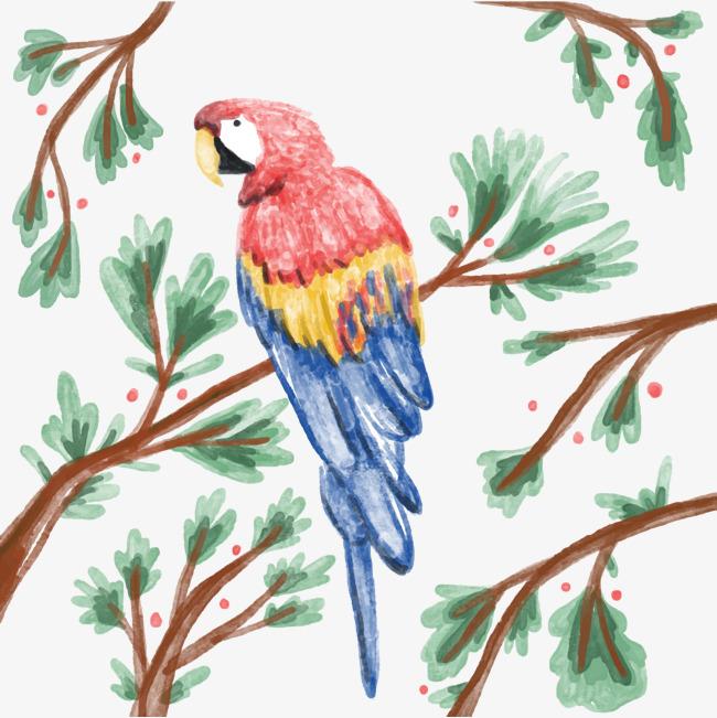 小鸟 水彩画 动物素材 植物素材 树枝             此素材是90设计网