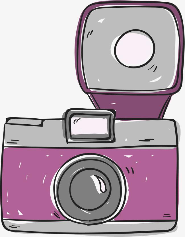 紫色手绘单反相机