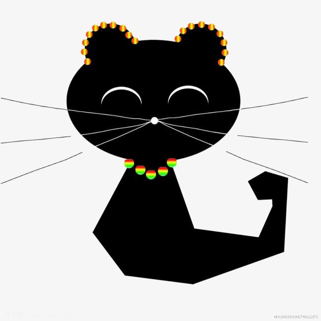 卡通黑色猫咪
