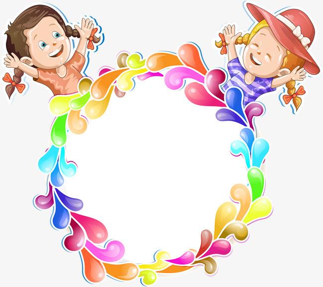 手绘彩色水滴状圆环