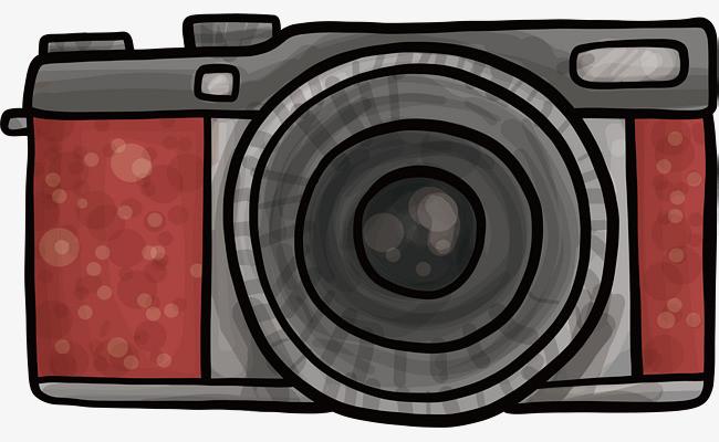 红色水彩手绘相机