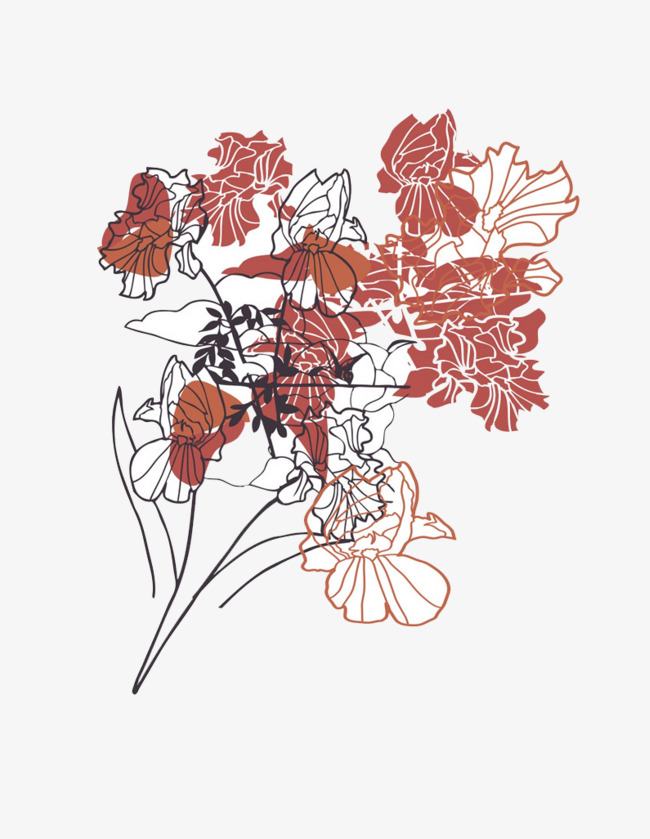 朱红色花朵png素材-90设计