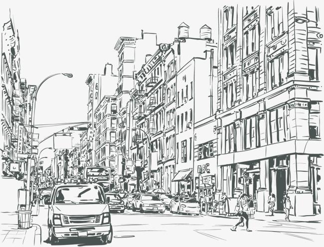 黑白线条街道 街道 建筑 房子 手绘建筑