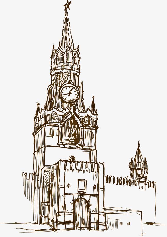 手绘哥特式建筑