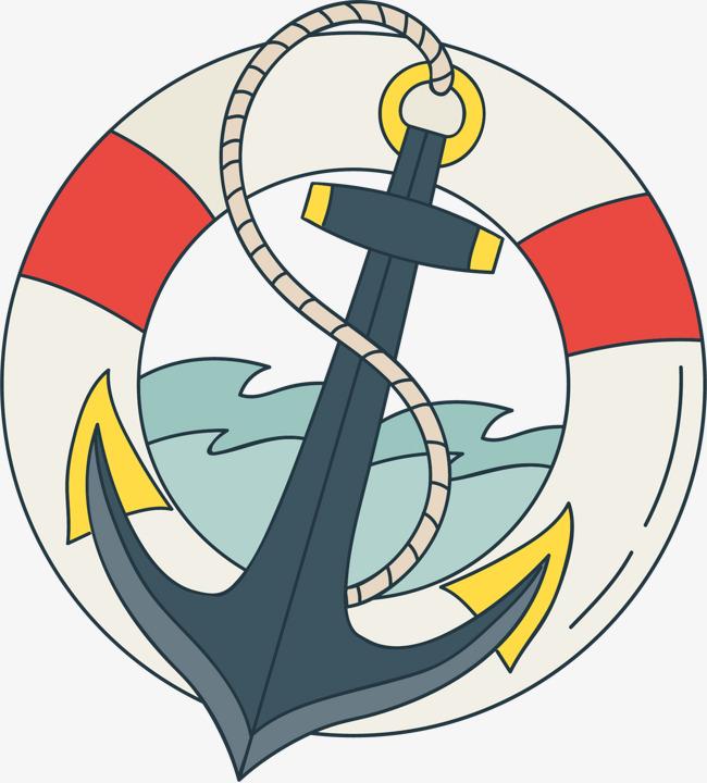 手绘船锚游泳圈图案