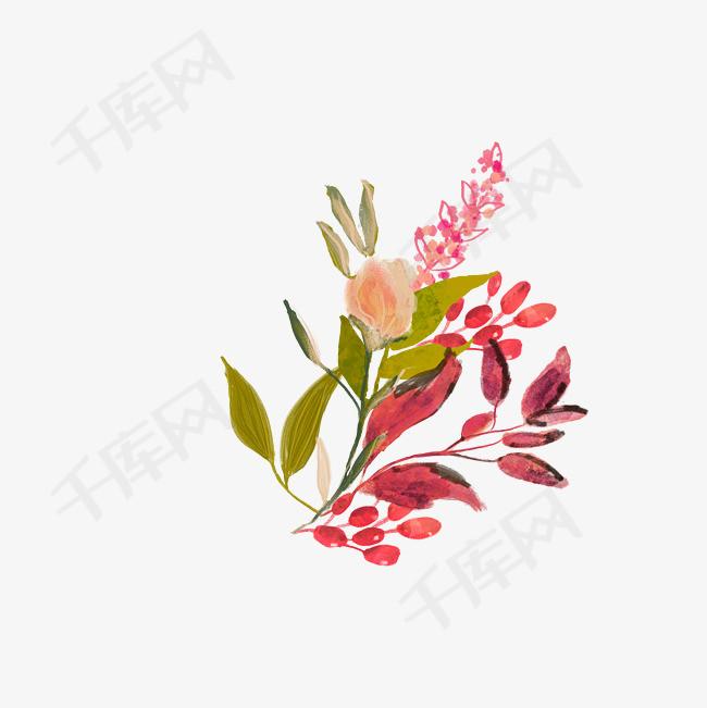手绘绿叶花朵花朵绿叶植物png素材