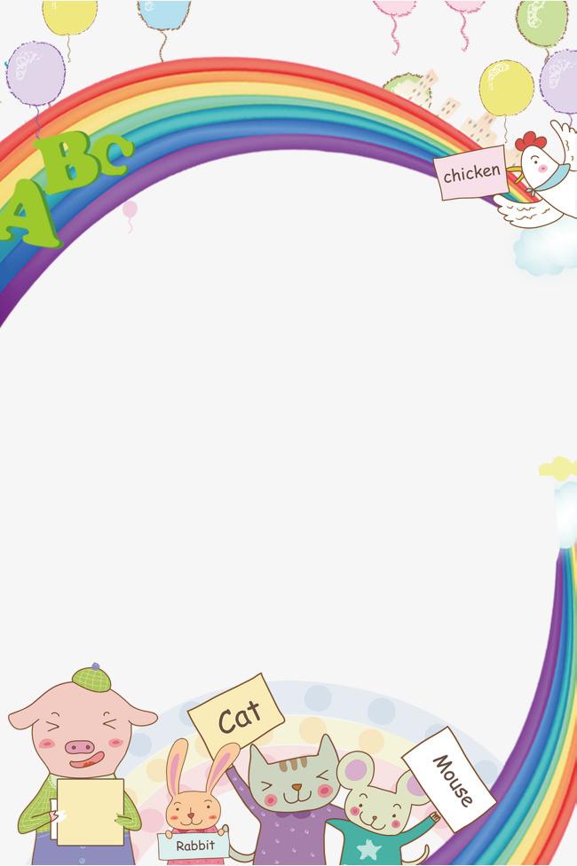 卡通动物彩虹气球英语背景图片