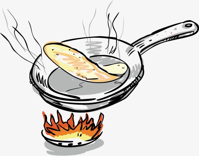 卡通手绘 食物 做饭 火