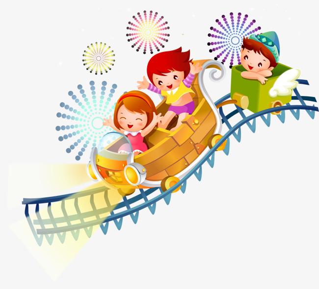 卡通手绘坐过山车儿童图片
