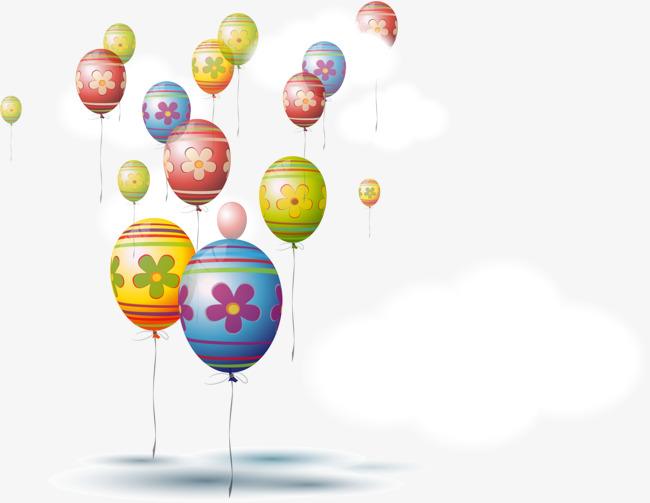 矢量手绘彩色气球