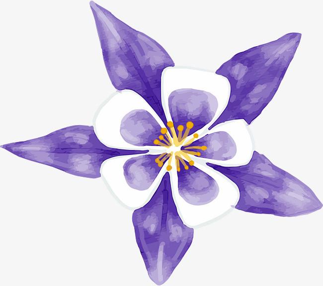 蓝色水彩手绘花朵png素材-90设计
