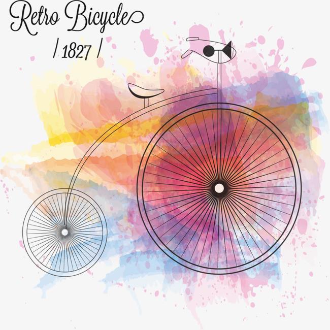水彩背景手绘自行车矢量图