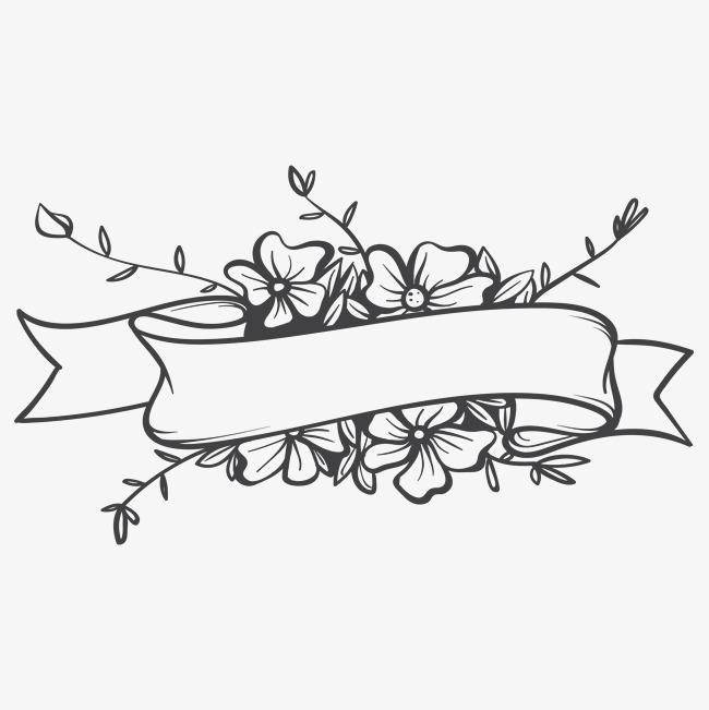图片 边框纹理 > 【png】 手绘线条花卉丝带背景框
