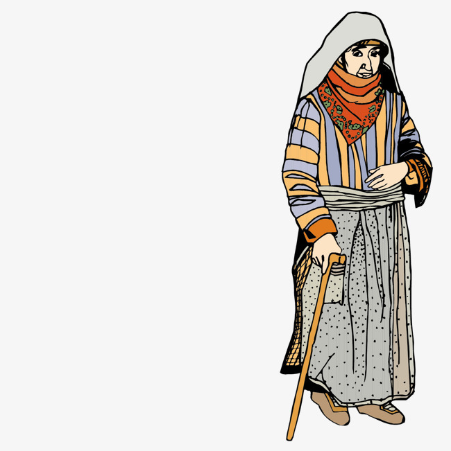 老妇伦囹�a�M_拄拐杖的黎巴嫩老妇人