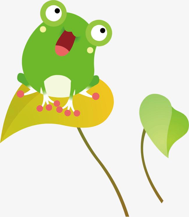 青蛙 卡通 绿色 荷叶 动物