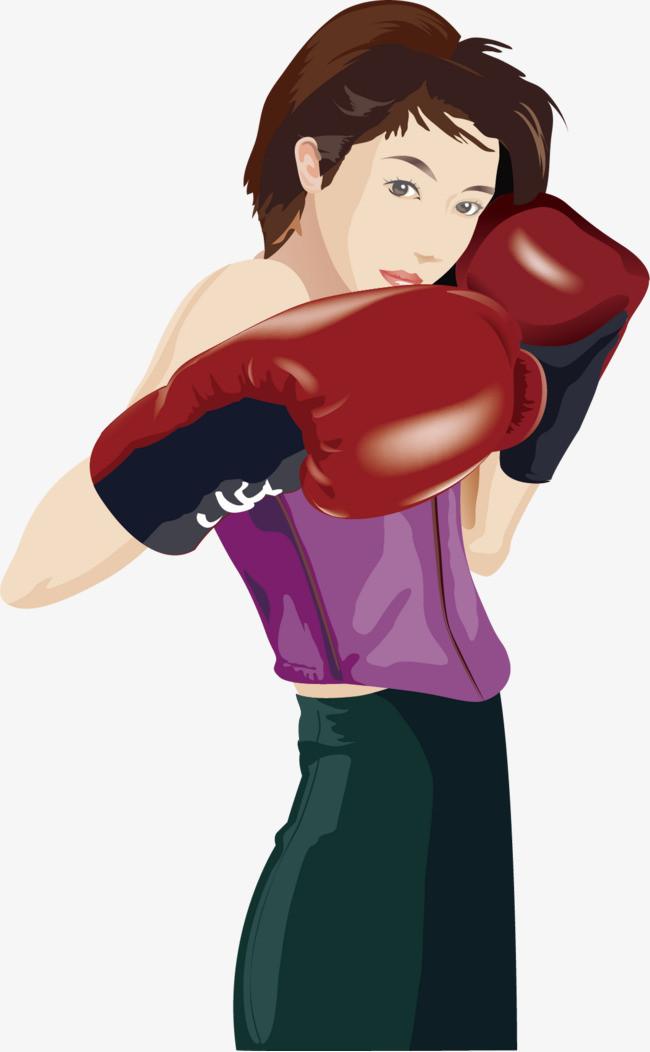 拳击美女卡通素材图片