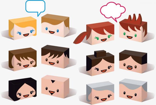 手绘方块表情png素材-90设计