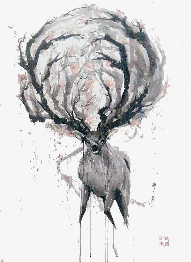 创意手绘画大角鹿素材
