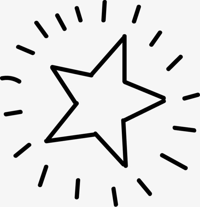 黑色线条简笔画发光五角星素材图片免费下载 高清png 千库网 图片编