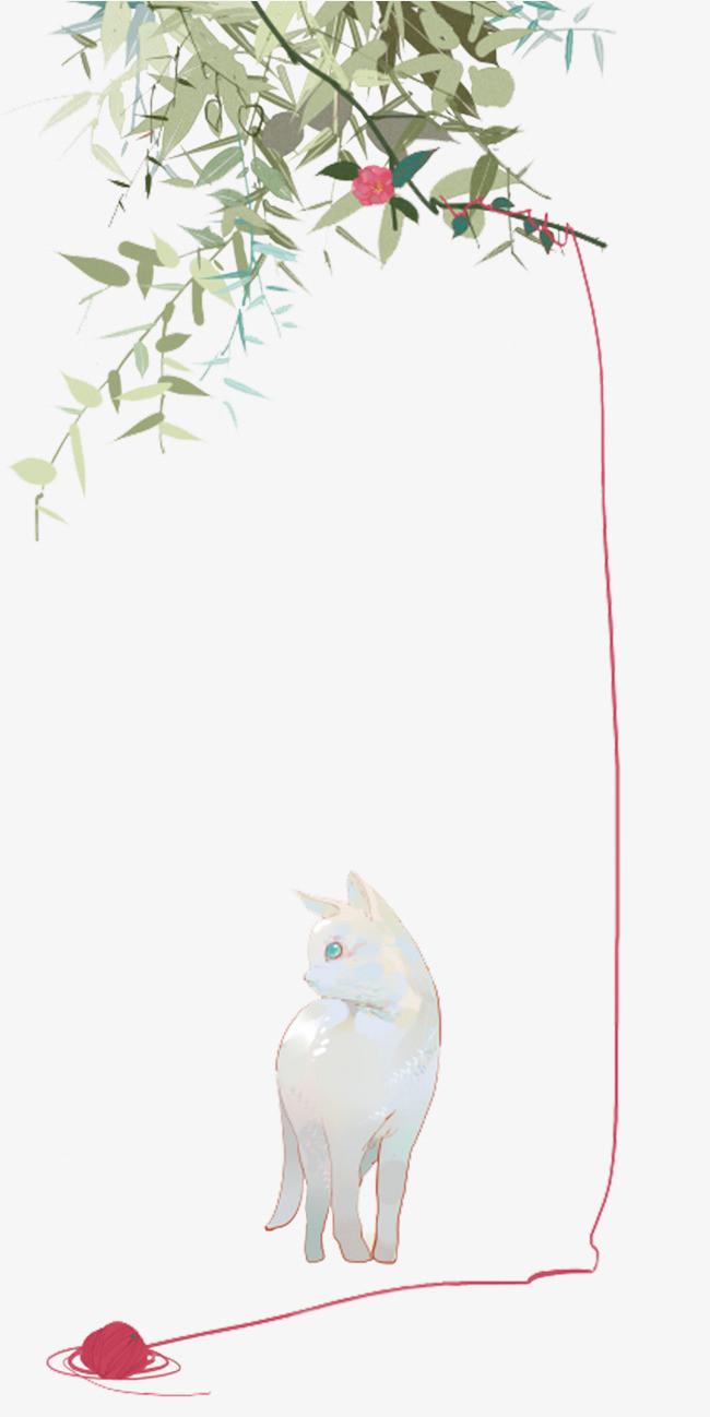 小清新猫咪手绘素材