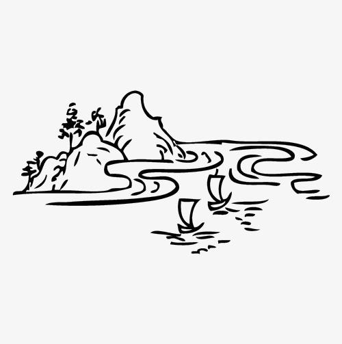 手绘山水线条简笔画素材图片免费下载 高清png 千库网 图片编号8216451图片