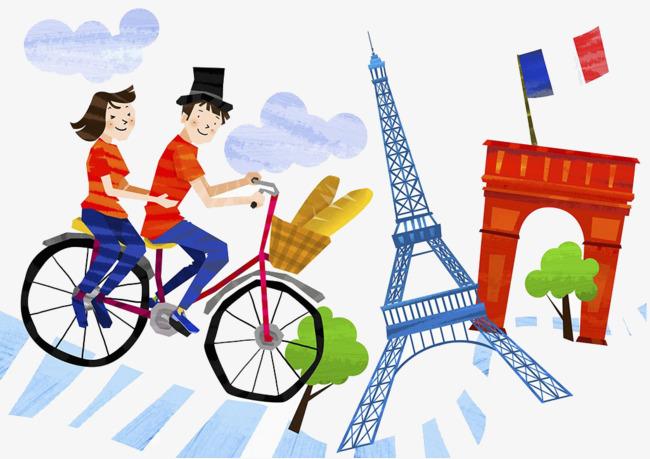 情侣骑自行车插画