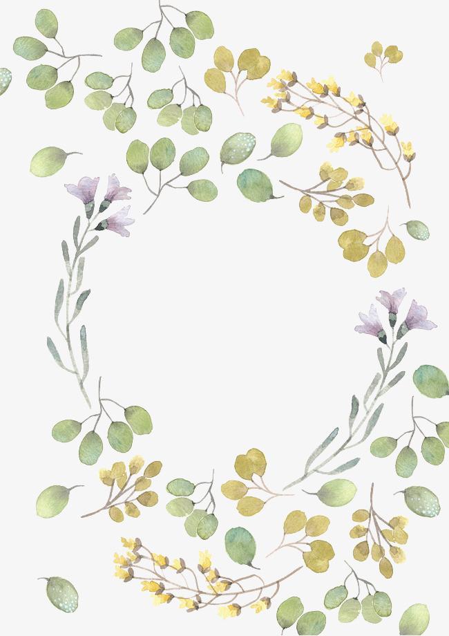 手绘花朵绿叶