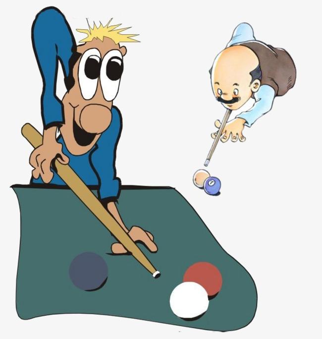 卡通_打台球漫画素材-90设计